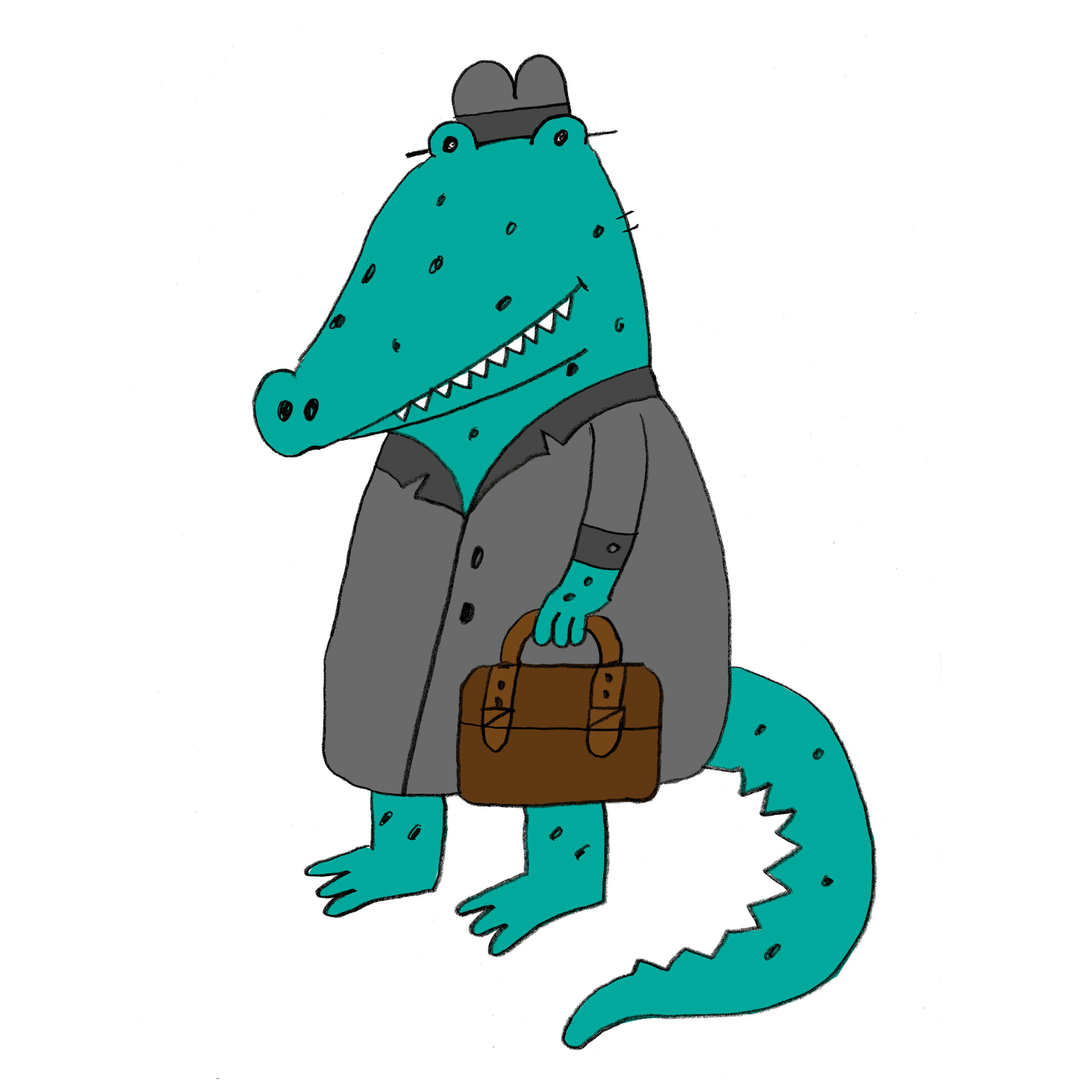 Pen illustration of the crocodile who is wearing gray raincoat, gray hat and holding an brown briefcase
